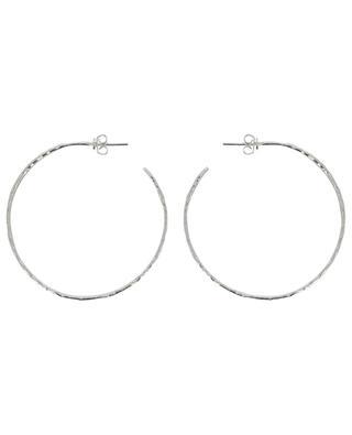 ART 0221 large silver hammered hoop earrings POGGI