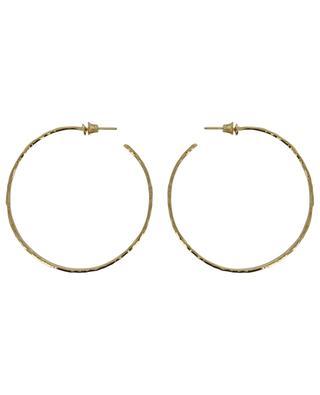 ART 0221 large golden hammered hoop earrings POGGI