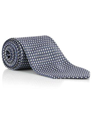 Printed silk tie with grid and square pattern BRIONI