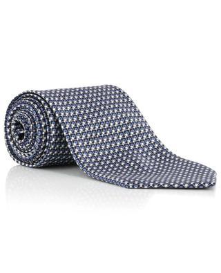 Cravate imprimée en soie motif grille et carrés BRIONI