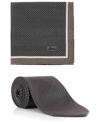 Coffret cravate et pochette en soie imprimé losanges BRIONI