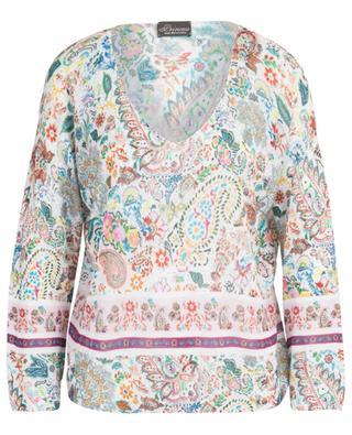 Weiter V-Kragenpulli aus Baumwolle mit Print Summer Paisley PRINCESS