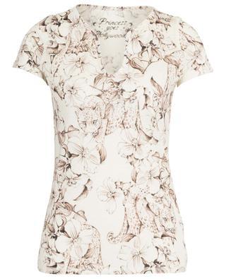 T-Shirt aus Leinen mit Blüten- und Leopardenprint PRINCESS