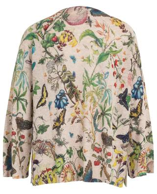 Linen and cotton jumper with botanical drawing print PRINCESS