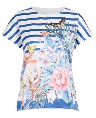 Materialmix-T-Shirt mit Streifen und Blüten PRINCESS