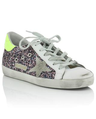 Glitter-Ledersneakers mit Neon-Detail Superstar GOLDEN GOOSE