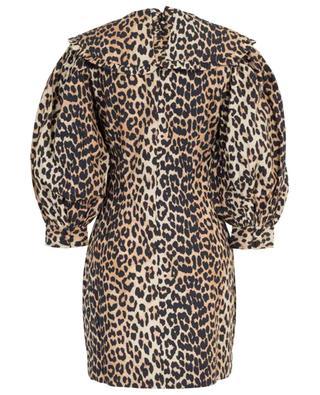 Minirobe imprimée léopard à manches bouffantes GANNI