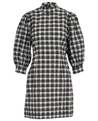 Robe courte en coton mélangé à carreaux GANNI