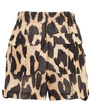 Leopard print linen and silk mini shorts GANNI