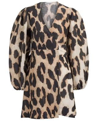 Kurzes Wickelkleid mit Print Maxi Leopard GANNI