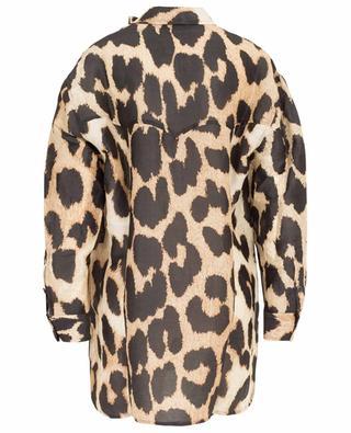 Chemise en lin et soie imprimé léopard GANNI