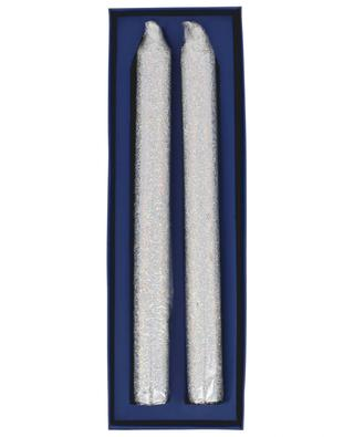 Set aus 2 silbernen Spitzkerzen Glitter KLEVERING