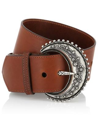 Large leather belt with moon shaped buckle ETRO