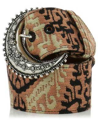 Large jacquard fabric and leather belt with Berber spirit buckle ETRO