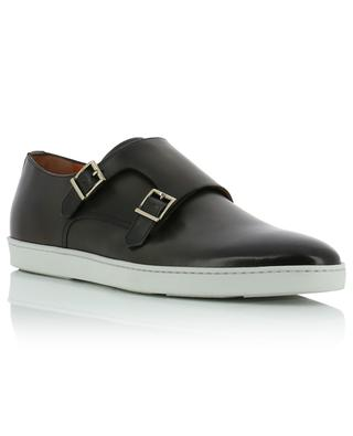 Leather monk straps with contrasting soles SANTONI