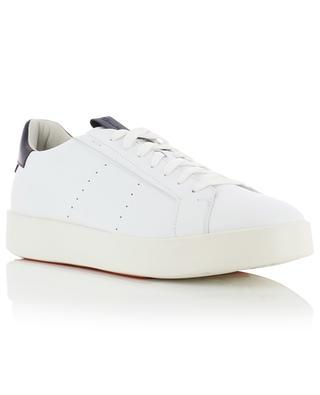 Baskets basses à lacets en cuir blanc détail bleu SANTONI