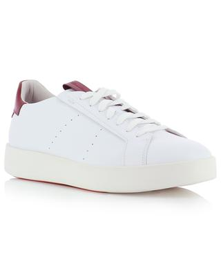 White leather lace-up low-top sneakers with red detail SANTONI