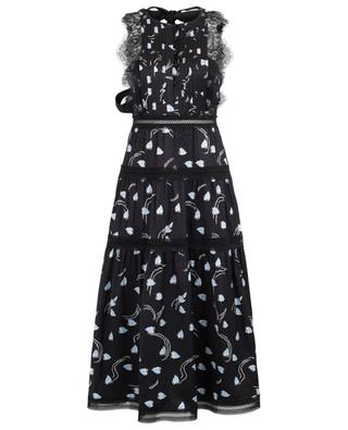 Abstract Geo printed dress with guipure SELF PORTRAIT