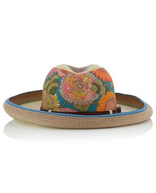 Chapeau en chanvre de Manille fleuri avec bande en cuir GREVI