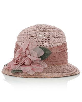 Chapeau de paille asymétrique avec ruban de fleurs GREVI