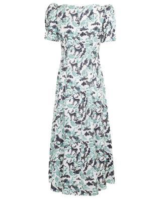 Langes Kleid aus texturiertem, bedrucktem Satin Eva Menagerie SALONI