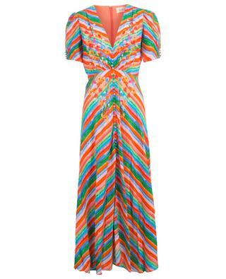 Langes Kleid aus Crêpe mit Streifen und Blüten Lea Long SALONI