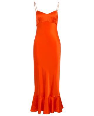 Mimi long peplum dress in satin SALONI