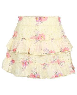 Bliss flared ruffled floral veil mini skirt LOVESHACKFANCY