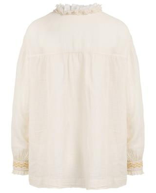 Textured cotton veil blouse with ruffles FORTE FORTE