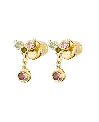 Clous d'oreilles dorés avectourmalines multicolores Luxume MARIE-LAURE CHAMOREL