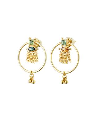 Luxume round golden ear studs with crystals MARIE-LAURE CHAMOREL