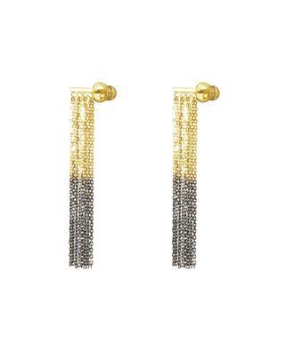 Gefranste gold-schwarze Ohrstecker Luxume Bicolore MARIE-LAURE CHAMOREL