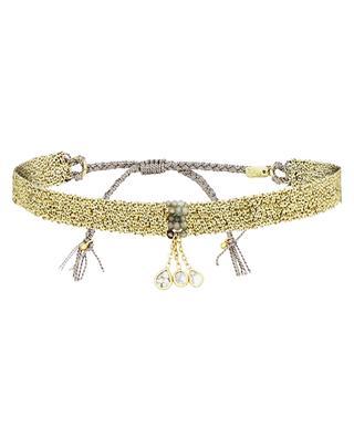 Goldenes Webarmband mit grauen Steinen und Polki-Diamanten Luxume Woven MARIE-LAURE CHAMOREL