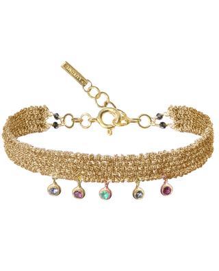 Luxume Woven golden bracelet with multicolour tourmaline stones MARIE-LAURE CHAMOREL