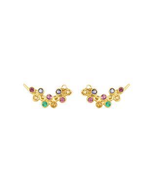 Goldene Ohrringe mit grünem Onyx, Iolit und Rhodolit Luxume MARIE-LAURE CHAMOREL