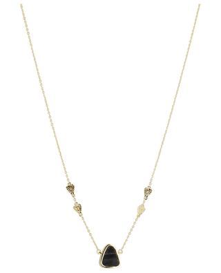 Goldene Halskette mit schwarzem Onyx und Blattgold Macha BE MAAD