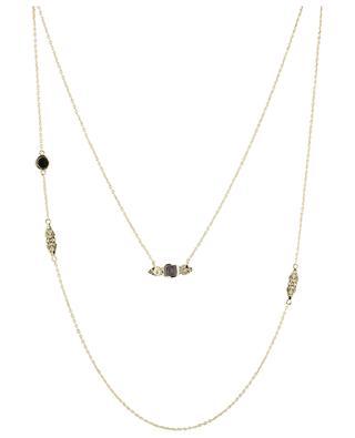 Doppelte goldene Halskette mit texturiertem schwarzem Onyx Nati BE MAAD