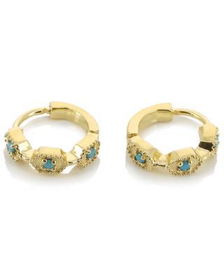 Tara turquoise adorned golden hoop earrings BE MAAD