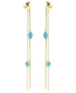 Shayan long golden earrings with turquoise BE MAAD