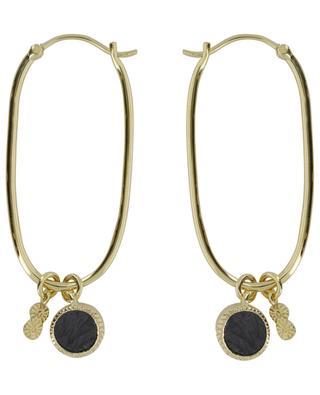 Créoles ovales dorées avec onyx noir texturé Arya BE MAAD