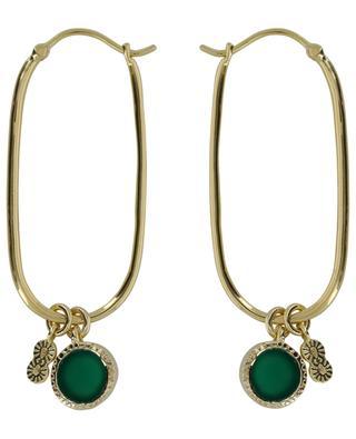 Créoles ovales dorées avec onyx vert Arya BE MAAD