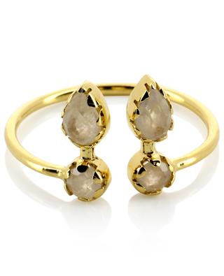 Safra open golden ring with moonstone BE MAAD