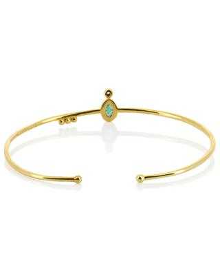 Mani yellow gold plated bangle with aventurine and zircon BE MAAD