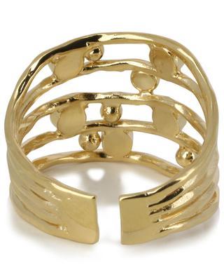 Drib Deluxe adjustable golden ring with grey and black cristals CAROLINE NAJMAN