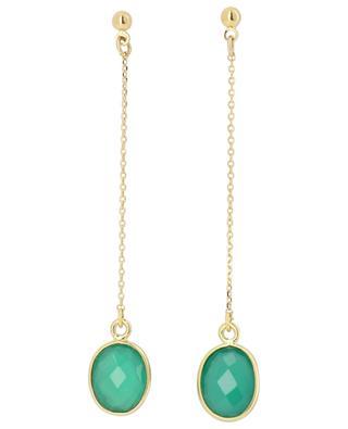 Boucles d'oreilles à clou avec chaîne et quartz vert Serti PM CAROLINE NAJMAN
