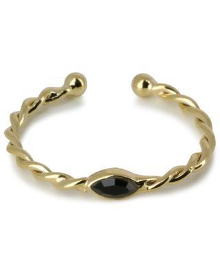 Twist Navette golden twisted open ring with black crystal CAROLINE NAJMAN