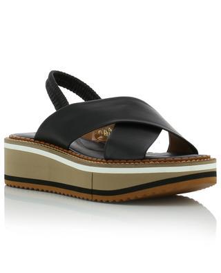 Sandales compensées en cuir d'agneau Freedom CLERGERIE