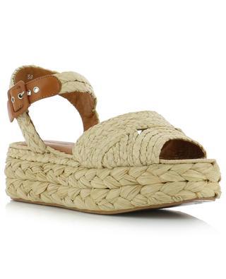 Aida3 braided raffia and leather wedge sandals CLERGERIE