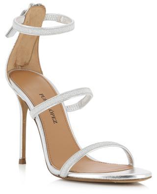 Laquisha sparkling silver leather heeled sandals PURA LOPEZ