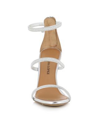 Sandales à talon en cuir argenté scintillant Laquisha PURA LOPEZ